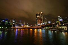Yarra river at night (Melbourne, Australia) Royalty Free Stock Photo