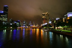 Yarra river at night (Melbourne, Australia) Stock Photos