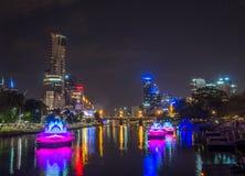 Yarra river at night Royalty Free Stock Photo
