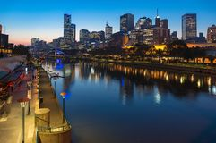 Yarra river promenade and Melbourne CBD at night Royalty Free Stock Images