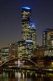 Yarra river and scyscrapers in Melbourne. Night view of Yarra river and scyscrapers in Melbourne Royalty Free Stock Images