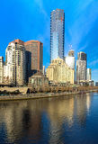 The Yarra River and southbank of Melbourne's CBD. On a clear winter morning Stock Photography