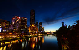 Yarra riverfront at night Stock Photos