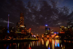 Yarra riverfront at night in melbourne Royalty Free Stock Photography