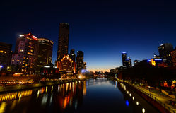 Yarra riverfront at night in melbourne victoria australia Stock Image