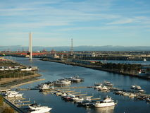 Yarra's Edge Marina. And Bolte Bridge, Docklands, Melbourne royalty free stock photography