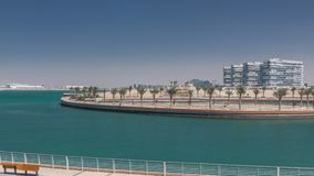 The Yas Island Beach Area and Al Dana timelapse. This is a man-made island with houses and walkway in Abu Dhabi, the capital city of the United Arab Emirates stock footage