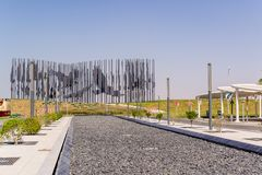 Yas Island/UAE στις 14 Νοεμβρίου 2017: Γλυπτό γερακιών στο νησί Yas, Αμπού Νταμπί Στοκ Εικόνες