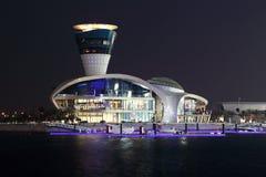 Yas Jachthafen nachts, Abu Dhabi Stockfotografie