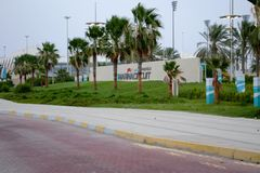 Yas Marina Circuit, het Westenpoort stock foto's