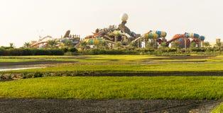 Yas Waterworld主题乐园在阿布扎比阿拉伯联合酋长国 免版税库存图片