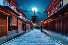 Yasaka塔和Sannen Zaka街在京都,日本 免版税库存图片