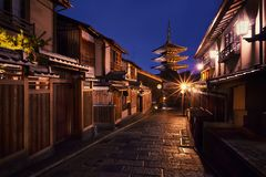 Yasaka-geen-aan Pagode bij nacht, Kyoto, Japan stock foto's