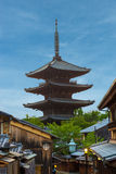 Yasaka No To Pagoda Behind Blue Sky Kyoto Royalty Free Stock Photos