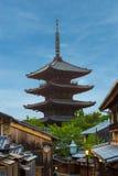 Yasaka No To Pagoda Behind Blue Sky Kyoto Royalty Free Stock Photos