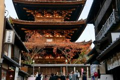 Yasaka pagoda in higashiyama district in kyoto royalty free stock image
