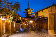 Yasaka Pagoda and Japanese old town in Higashiyama. District of Kyoto at night, Japan Royalty Free Stock Photography