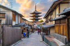 Yasaka pagoda with Kyoto ancient street in Japan Royalty Free Stock Photos