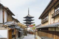 Yasaka pagoda with Kyoto ancient street. At Kyoto, Japan Royalty Free Stock Photo