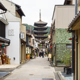 Yasaka Pagoda and Sannen Zaka Street in the evening, Kyoto Stock Photos