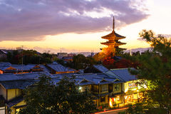 Yasaka Pagoda and Sannen Zaka Street in the evening Stock Photography