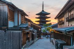 Yasaka Pagoda on Sannen Zaka Street, Kyoto, Japan. Yasaka Pagoda on Sannen Zaka Street in an old town district of Kyoto, Japan. It is located near the famous stock photography