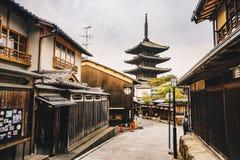 Yasaka Pagoda and Sannen Zaka Street in Kyoto old city in  Higas Royalty Free Stock Images