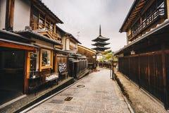 Yasaka Pagoda and Sannen Zaka Street in Kyoto old city in Higas stock image