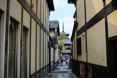 Yasaka Pagoda and Sannen Zaka Street Kyoto Stock Photography