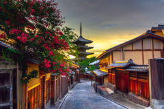 Yasaka Pagoda and Sannen Zaka Street at sunset, Kyoto, Japan Stock Photography