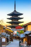 Yasaka Pagoda with sunrise. in Kyoto,Japan. royalty free stock photos