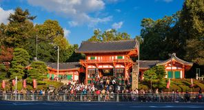 Yasaka Shrine in Kyoto during Tencho-sai Festival. Yasaka Shrine full of people during Tencho-Sai Festival, in the famous Gion District in Kyoto stock image