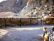 Bedouin tent landscape in Egypt royalty free stock photo
