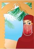 Yashmak que desgasta de la mujer árabe hermosa stock de ilustración