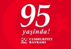 95 yasinda, ekim Cumhuriyet Bayrami, giorno Turchia dell'illustrazione 29 di vettore della Repubblica illustrazione di stock