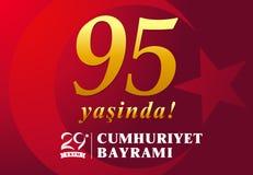 95 yasinda, olsun di kutlu di Cumhuriyet Bayrami del ekim dell'illustrazione 29 di vettore, giorno Turchia della Repubblica illustrazione vettoriale