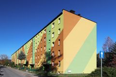 Yaslo, Poland - oct 13 2018: Small residential apartment building in Eastern Europe. The exterior painting design of the restored royalty free stock images