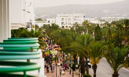 Yasmin Hammamet, Tunisia, September 20, 2018: Crowded streets. Yasmine Hammamet, Tunisia - September 20, 2018: Crowded street in turistic area view from the royalty free stock photography