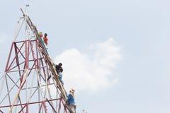 YASOTHORN, THAI-MAY 15 :火箭准备好起飞被做在Fe 免版税图库摄影