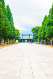 Yasukuni Shrine Path Daini Torii Centered Distant Stock Photo