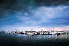 Yatch靠了码头小游艇船坞口岸,横滨,日本 免版税库存图片