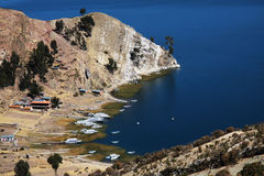 Yatch and boats on Titicaca lake Royalty Free Stock Photos