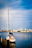 Yatch docked Marina Port, Yokohama, Japan Stock Photo