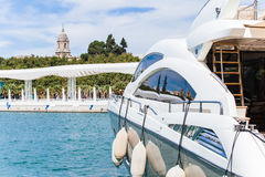 Yatch at the port of Malaga, with the Cathedral at background Stock Photo