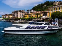 Yatch on the riverside of the Como`s Lake royalty free stock photography