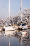 Yatchts in winter moorings Royalty Free Stock Photo