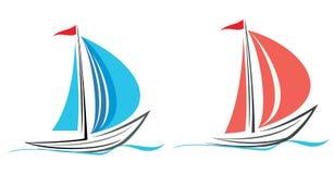 Yate, barco de vela. stock de ilustración