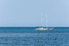 Yate blanco viejo oxidado que navega los mares del Caribe tranquilos fotos de archivo