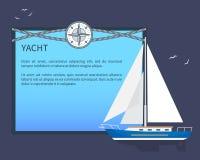Yate de la vela, tarjeta colorida, ejemplo del vector libre illustration