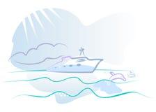 Yate en frotar ligeramente del océano y del delfín. Foto de archivo libre de regalías